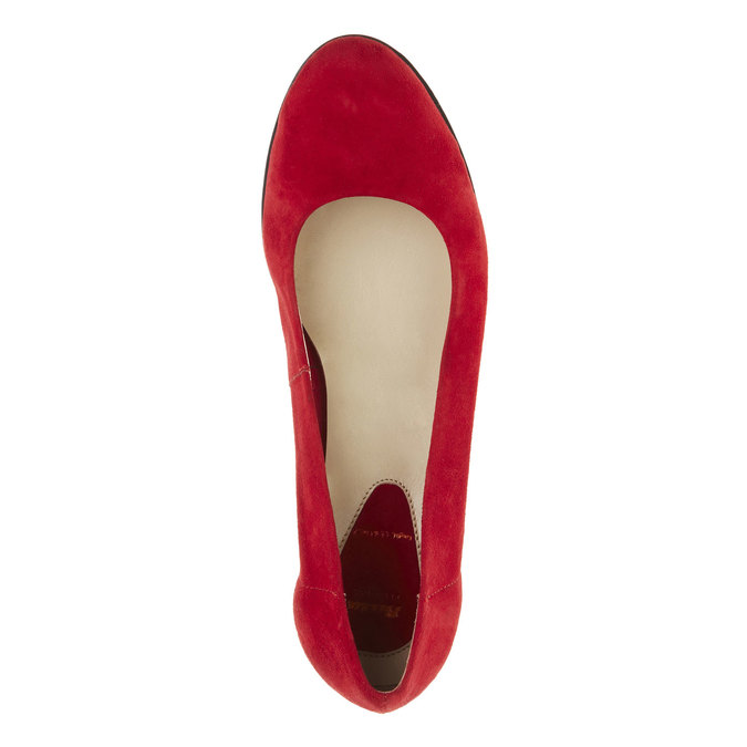Leather wedge pumps flexible, red , 623-5395 - 19