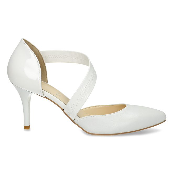 Pointed white pumps with an instep strap, white , 724-1904 - 19