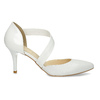Pointed white pumps with an instep strap bata, white , 724-1904 - 19