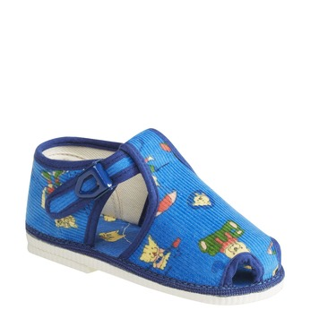 Children's home slippers in an ankle cut bata, blue , 179-9210 - 13