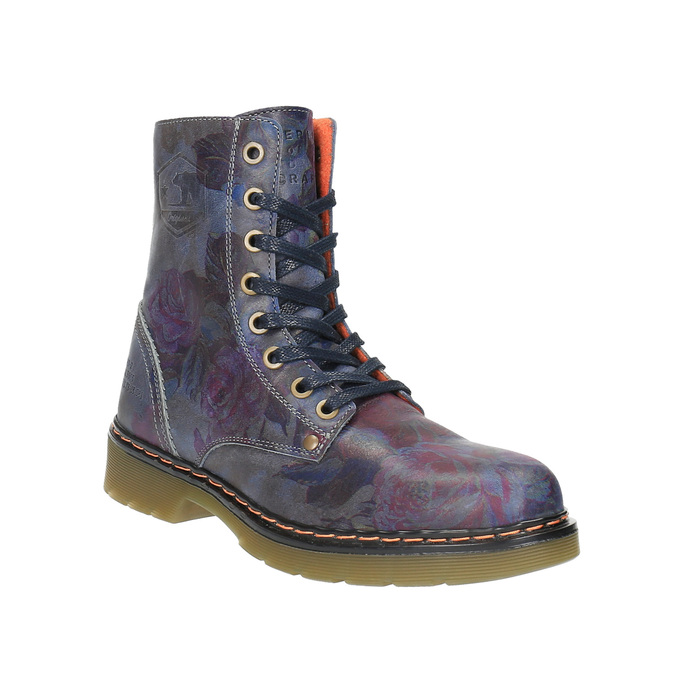 Leather ankle boots with flower motif bata, blue , 596-9609 - 13