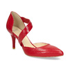 Leather pumps with T-strap bata, red , 724-5904 - 13