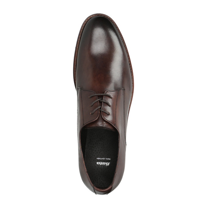 Brown leather shoes bata, brown , 824-4684 - 19