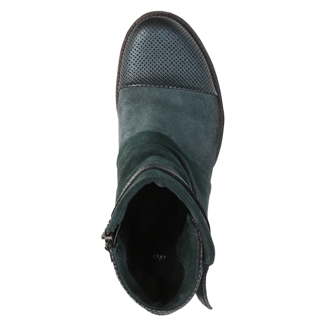 Leather ankle boots with silver details bata, turquoise, 596-9614 - 19
