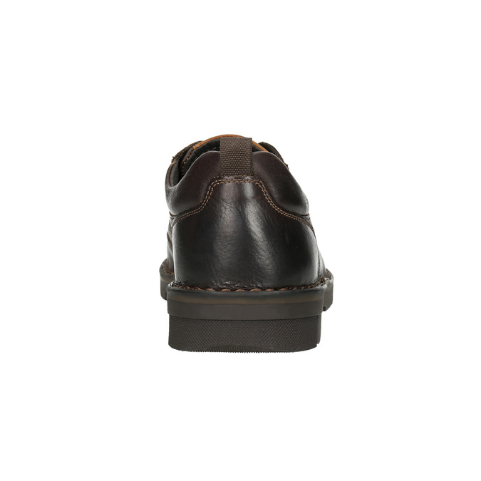 Casual leather shoes on a contrasting sole bata, brown , 824-4698 - 17