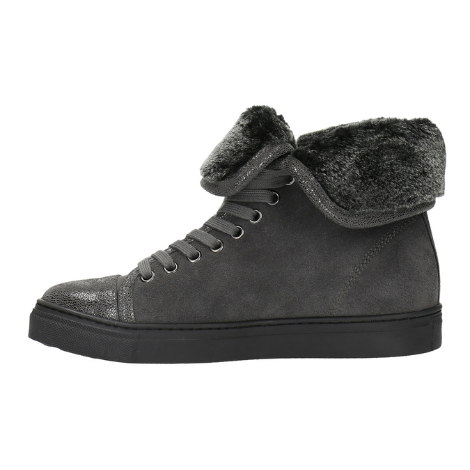 Leather ankle sneakers with fur bata, gray , 593-2601 - 26