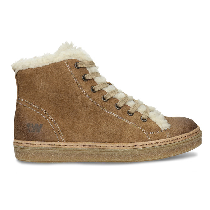 Leather ankle-cut sneakers with fur weinbrenner, brown , 596-8627 - 19