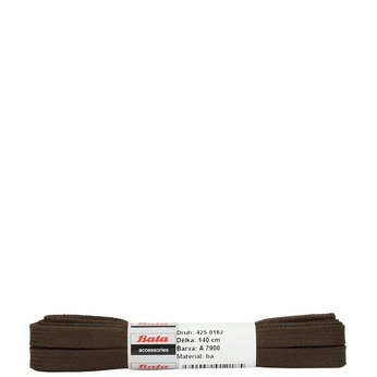 Brown flat laces bata, brown , 901-4140 - 13