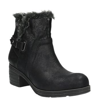 Ankle-cut shoes with fur bata, black , 699-6632 - 13