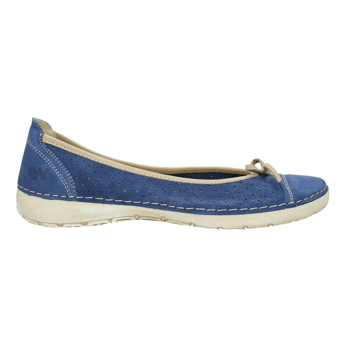 Casual leather ballerinas weinbrenner, blue , 526-9503 - 15