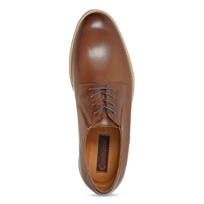 Leather shoes with a distinctive sole conhpol, brown , 824-3857 - 17