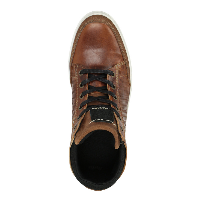 Leather ankle sneakers bata, brown , 844-3631 - 19