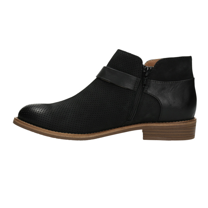 Leather ankle boots with buckle bata, black , 596-6634 - 26