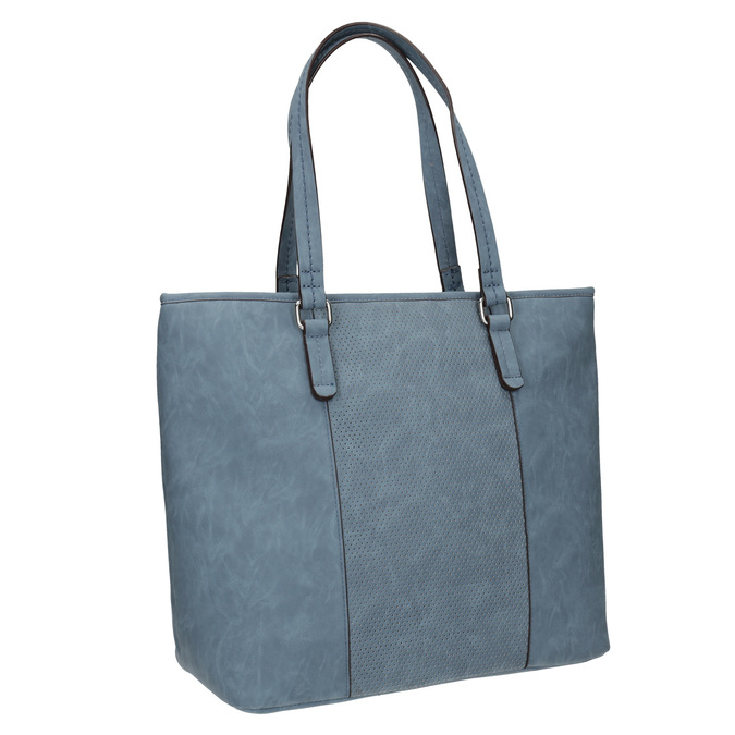 Blue handbag with perforated detail bata, blue , 961-9711 - 13