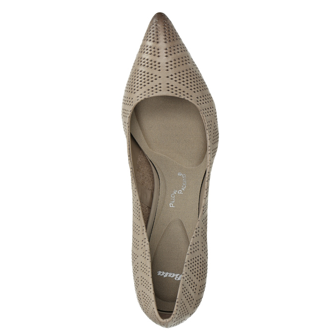 Ladies´ pumps with perforations pillow-padding, beige , 626-2636 - 19