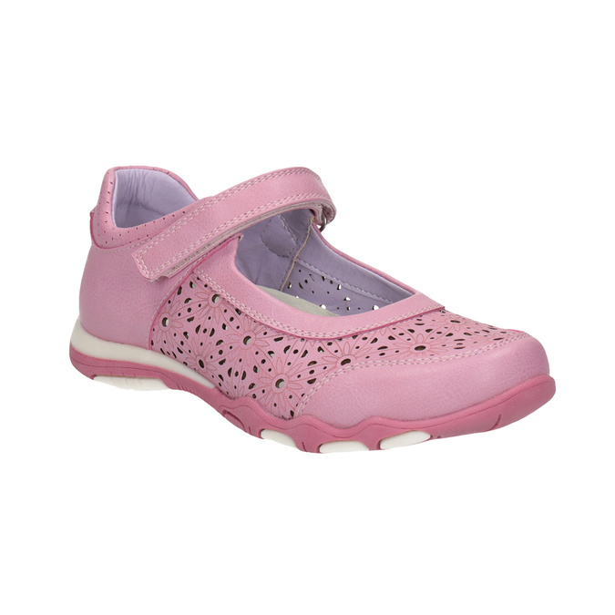 Girls' pink ballet pumps with strap across instep bubblegummer, pink , 321-5603 - 13