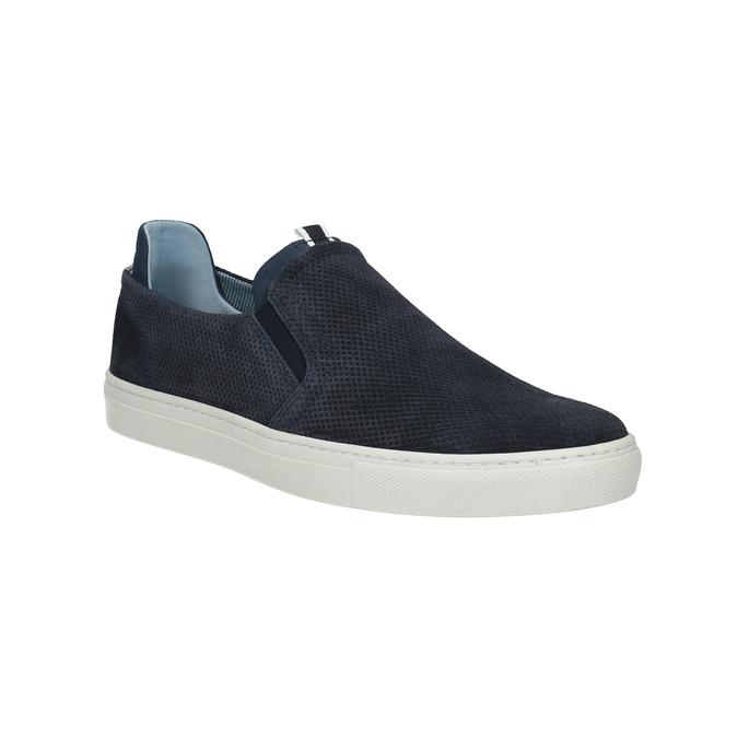 Men´s leather Slip-ons bata, blue , 833-9600 - 13