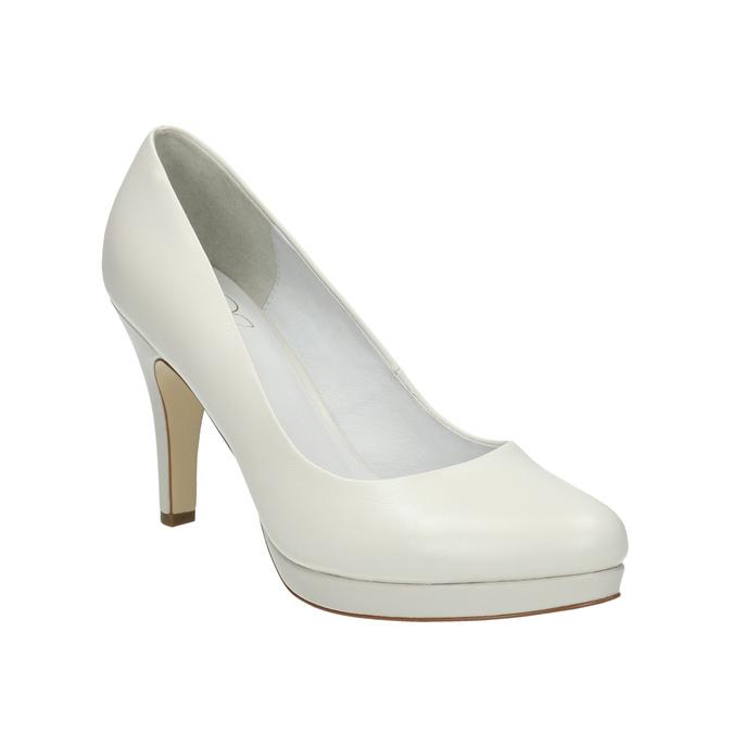 Leather pumps on a Stiletto heel insolia, white , 724-1647 - 13
