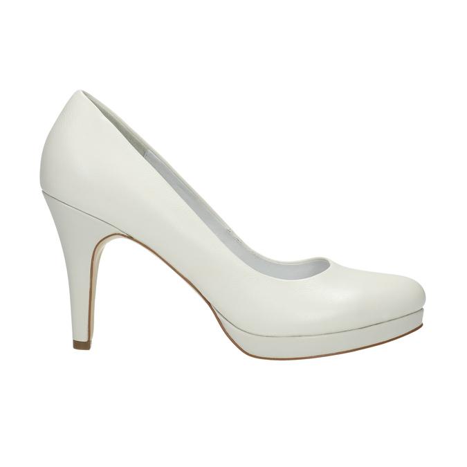 Leather pumps on a Stiletto heel insolia, white , 724-1647 - 15