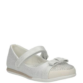 Girls' ballet pumps with Velcro mini-b, white , 221-1179 - 13