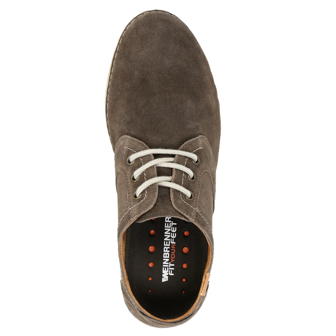 Casual shoes of brushed leather weinbrenner, brown , 843-4629 - 19