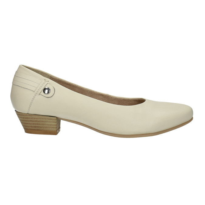 Leather low-heeled court shoes bata, beige , 624-1603 - 15