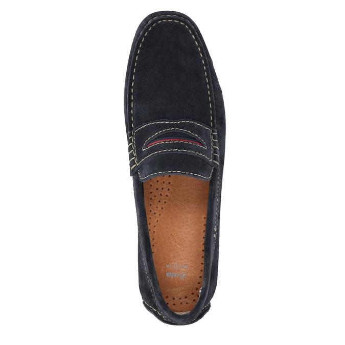 Brushed leather moccasins bata, blue , 853-9614 - 19
