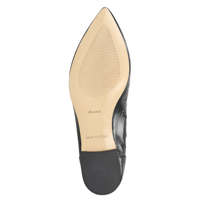 Pointed leather ballet pumps bata, black , 524-6604 - 19