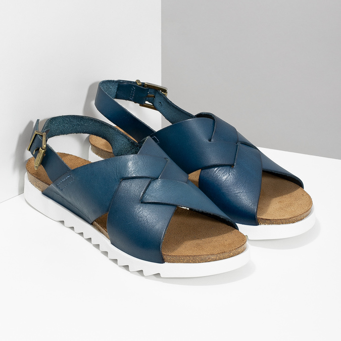 Ladies' leather sandals weinbrenner, blue , 566-9628 - 26