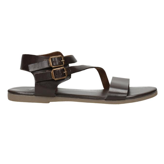 Brown leather sandals bata, brown , 566-4613 - 15