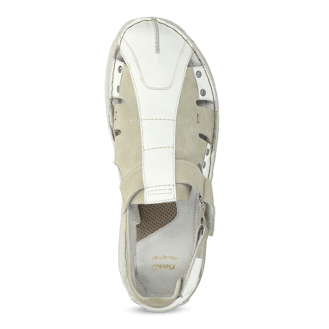 Men's leather sandals bata, white , 866-1622 - 17