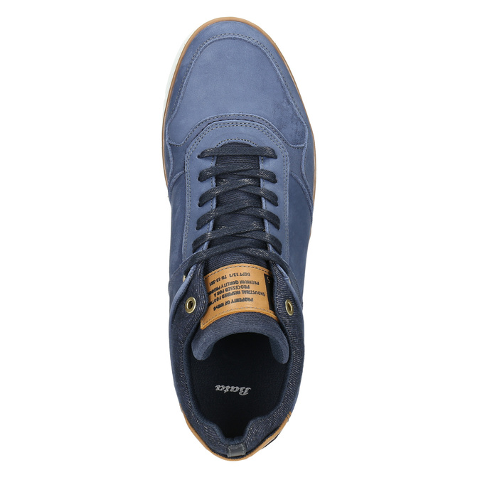 Leather high-top sneakers bata, blue , 846-9641 - 26