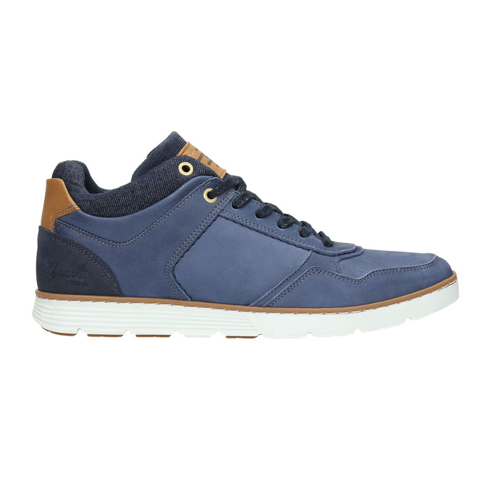 Leather high-top sneakers bata, blue , 846-9641 - 15