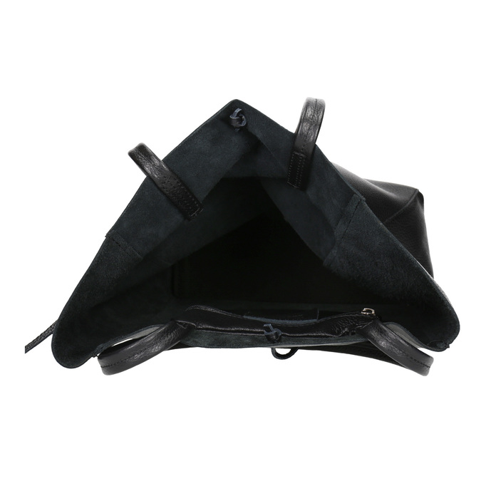 Leather handbag v Shopper style, black , 964-6122 - 15