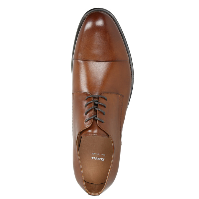 Brown leather Derby shoes bata, brown , 826-3682 - 26