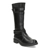 Black Girls' Leather High Boots mini-b, black , 391-6655 - 13