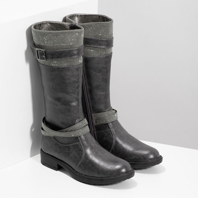 Girls' High Boots with Rhinestones mini-b, gray , 391-2655 - 26