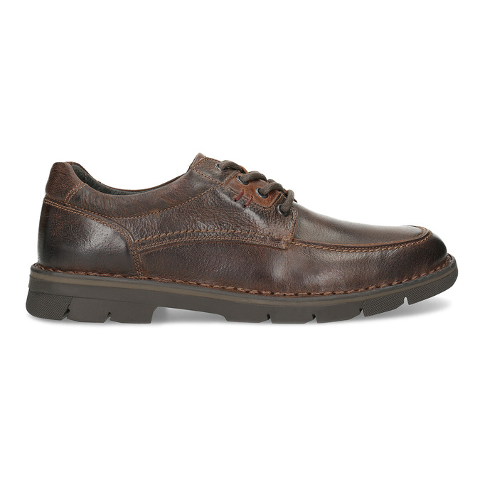 Men's leather shoes with distinctive sole bata, brown , 826-4917 - 19