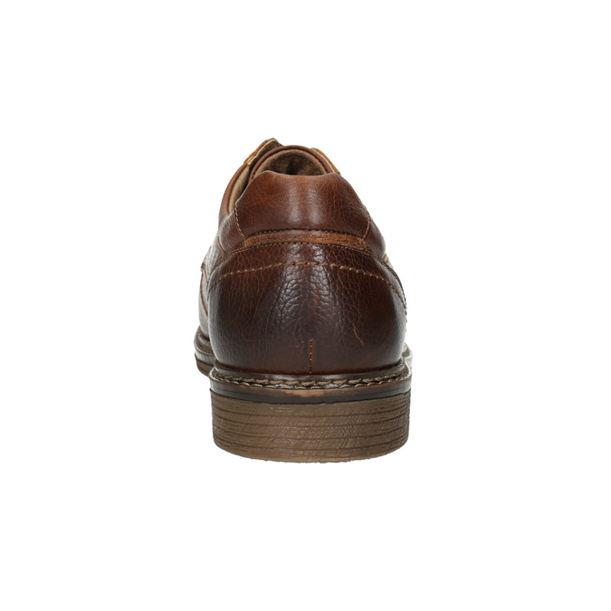 Brown stitched leather shoes bata, brown , 826-4915 - 17
