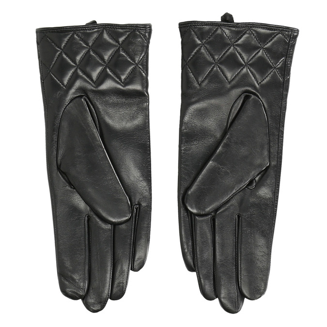 Ladies' black leather gloves bata, black , 904-6131 - 16