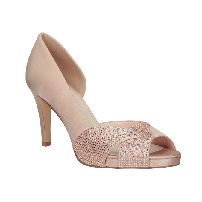 Formal Pumps with Rhinestones bata, pink , 729-8613 - 13