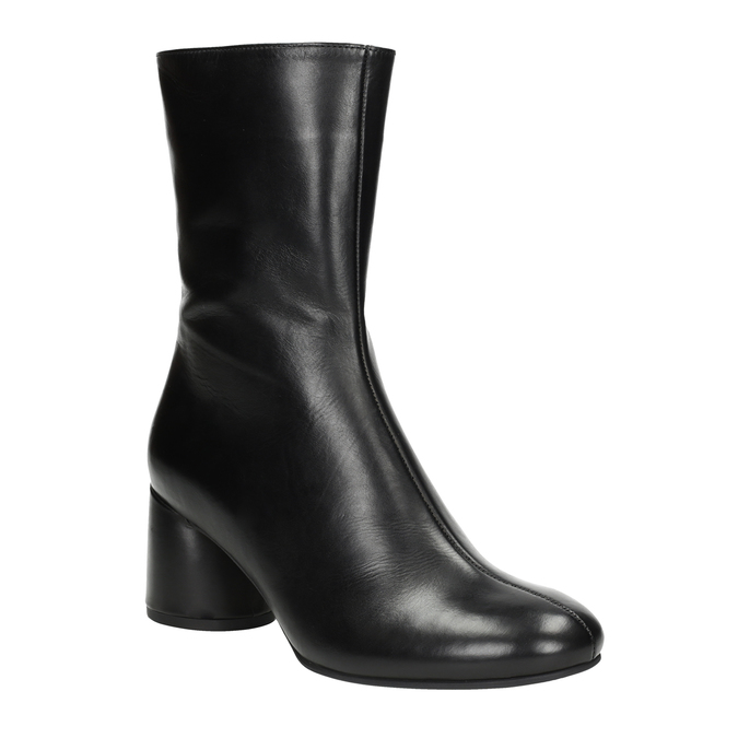 Leather high boots with chunky heel hogl, black , 714-6060 - 13
