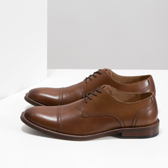 Brown leather Derby-style shoes bata, brown , 826-3812 - 16