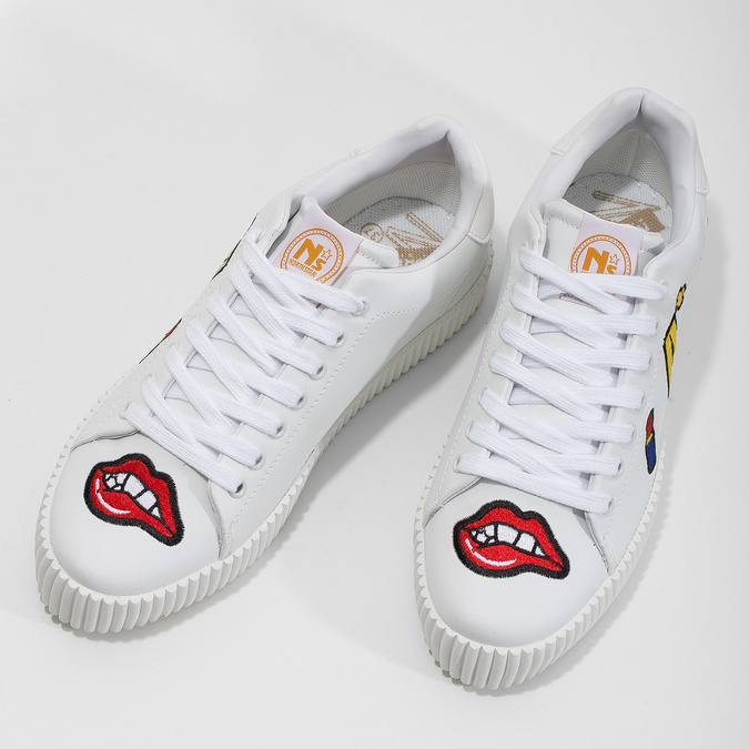 Ladies' white sneakers with patches north-star, white , 541-1602 - 16