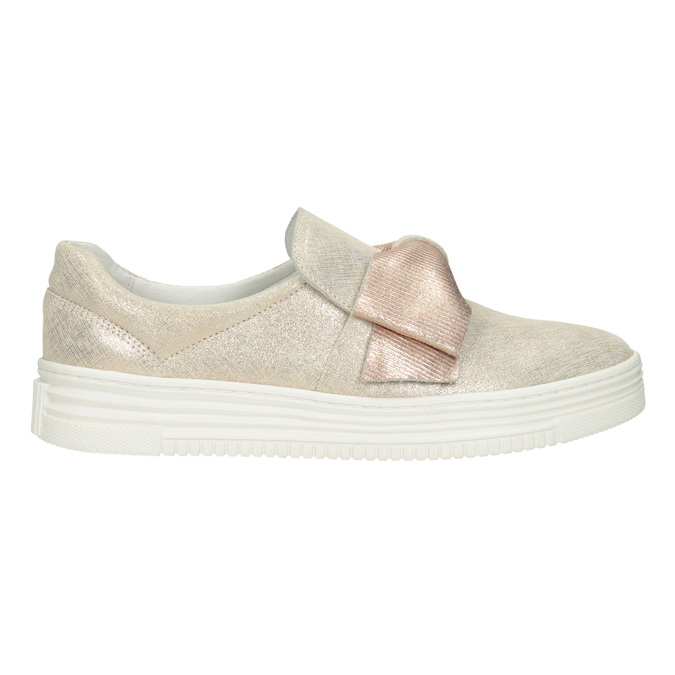 Leather Slip-on shoes with a bow bata, pink , 536-5600 - 26