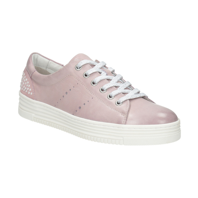 Pink leather sneakers with small pearls bata, pink , 546-5606 - 13