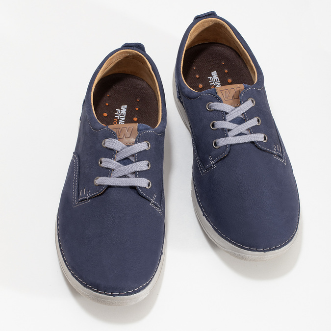 Casual leather shoes, blue , 846-9631 - 16