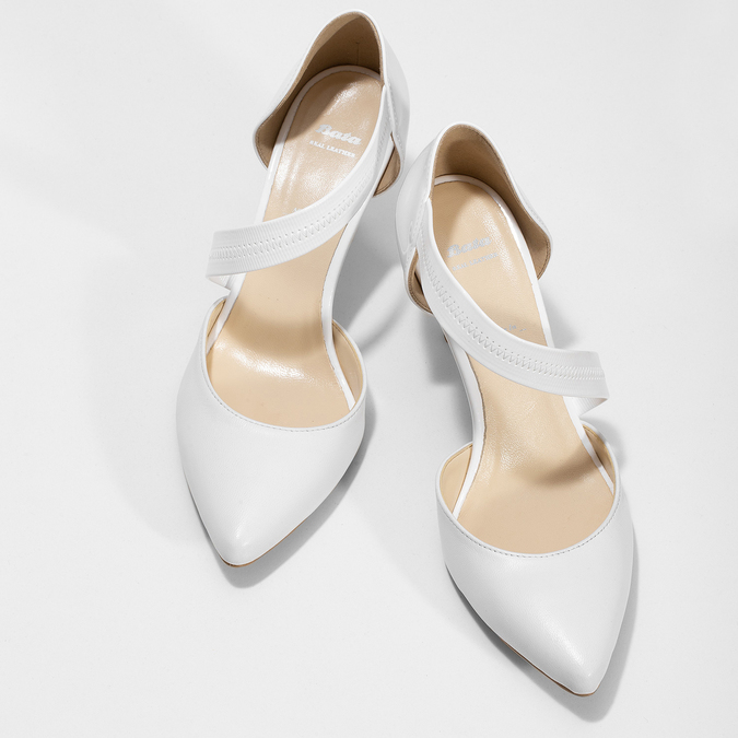 Pointed white pumps with an instep strap bata, white , 724-1904 - 16