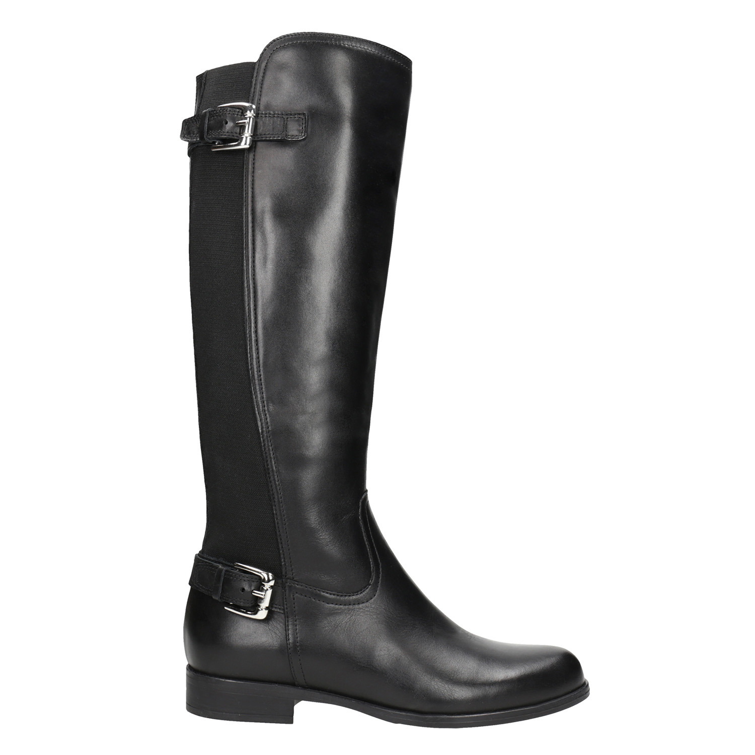 ed4af0508644 Bata Ladies  leather high boots with buckles - No Heel